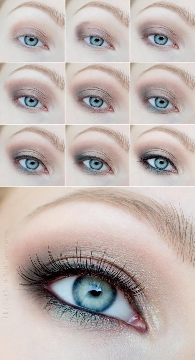 Пошаговый макияж на каждый день для голубых глаз пошаговое