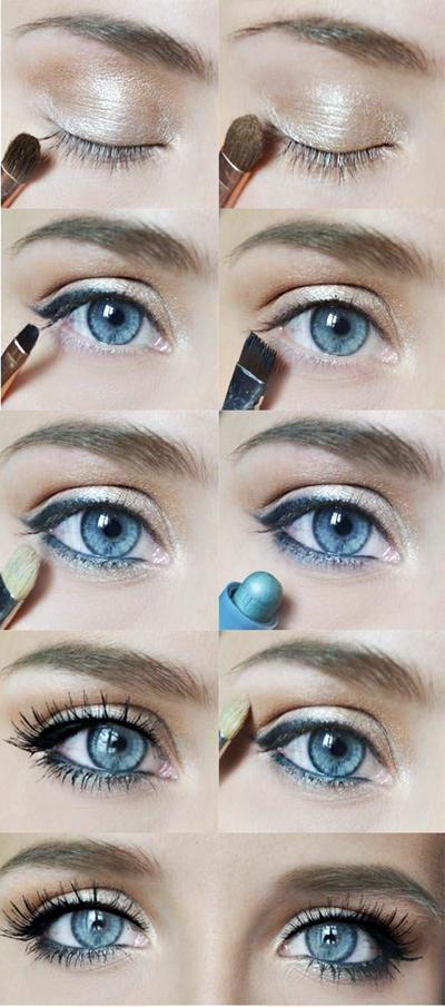 Фото летний макияж для голубых глаз пошагово