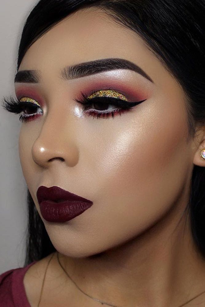 макияж для карих глаз с блестками