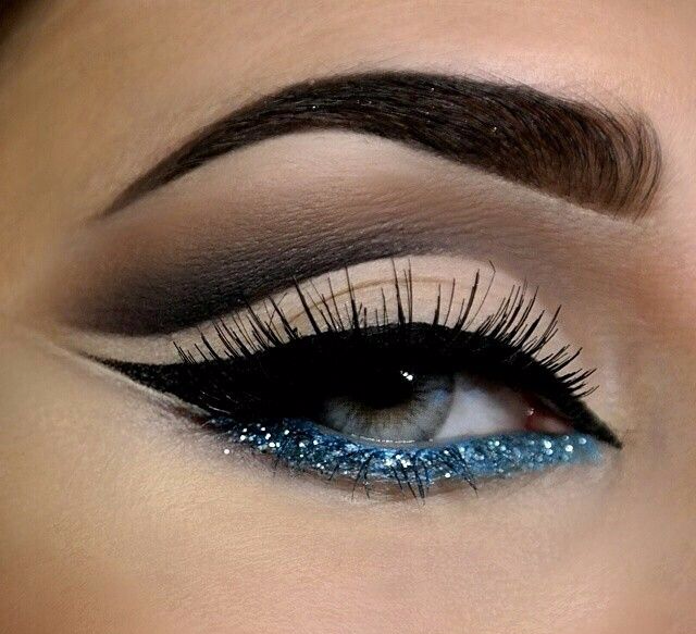 макияж с блестками для серых глаз