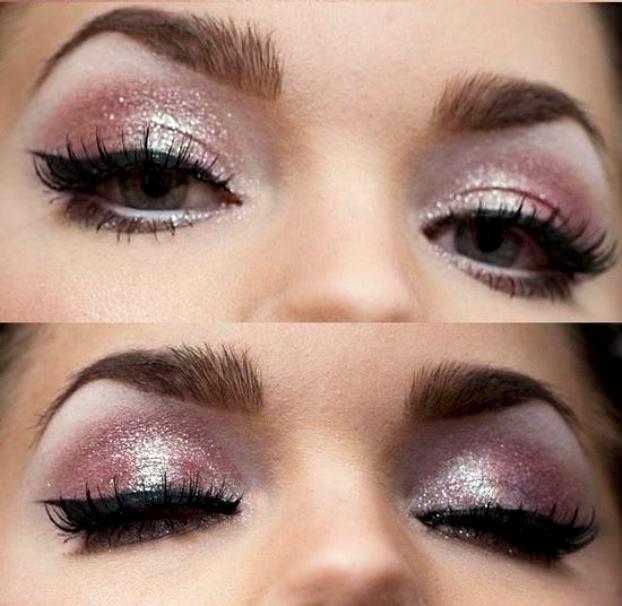 макияж с розовыми блестками