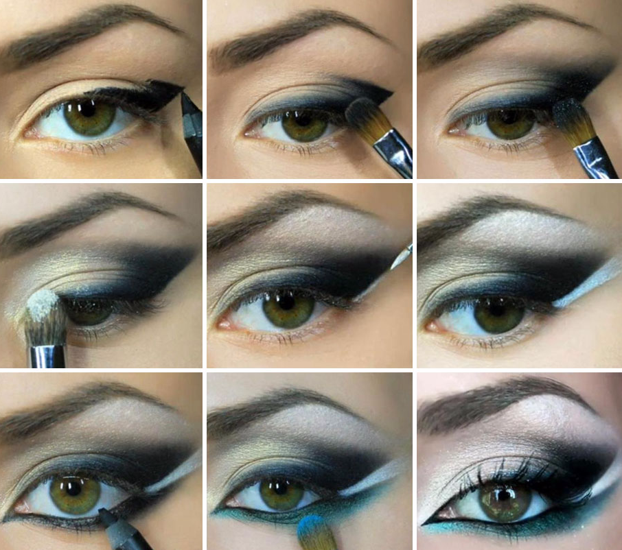 техника нанесения восточного макияжа глаз пошагово фото