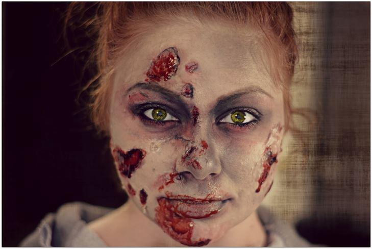 Грим зомби для девушки на Хэллоуин