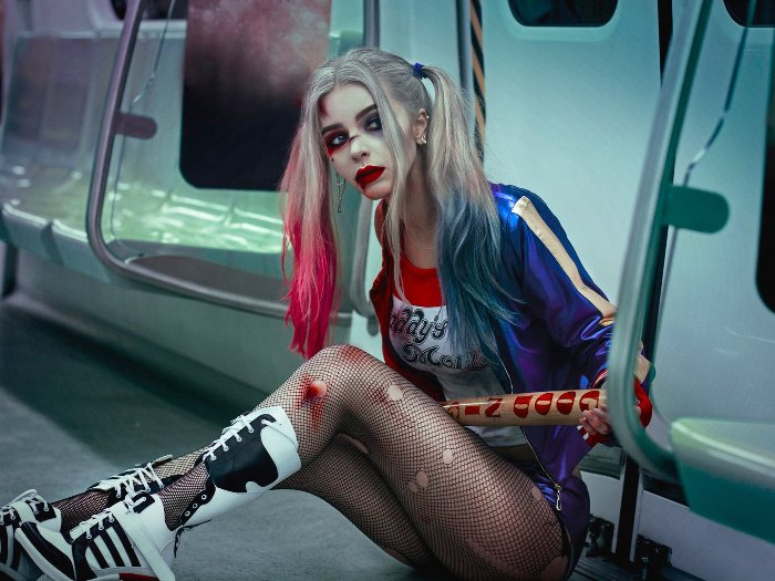 Харли Квинн на Хэллоуин макияж