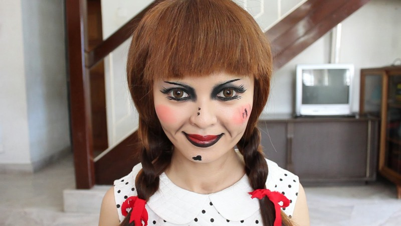 Макияж куклы аннабель на хэллоуин