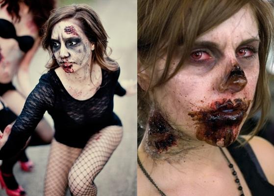 Макияж на Хэллоуин для девушки зомби
