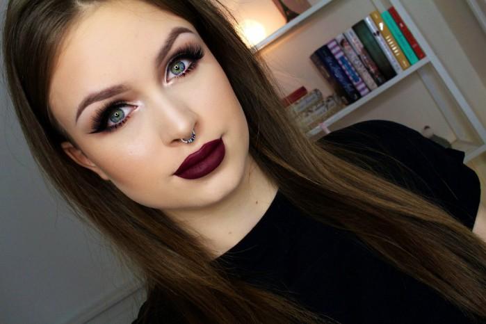 Осенний макияж с длинными ресницами