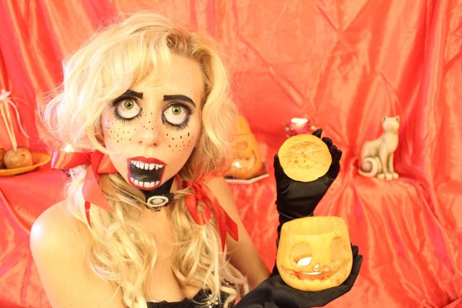 Страшный макияж куклы на хэллоуин