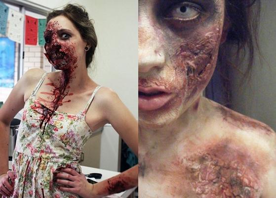 Зомби макияж для девушки на Хэллоуин