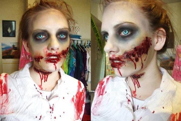Зомби макияж на Хэллоуин для девушки