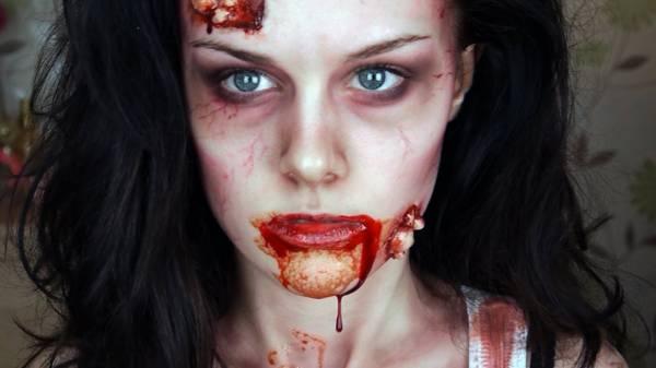 Зомби макияж на Хэллоуин