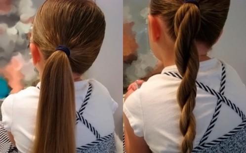 Хвосты в школу на средние волосы